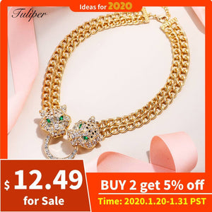 Tuliper чокер Panther Choker Necklace Statement Leopard Animal Crystal Pendant For Women Party Jewelry Collier Femme Collares