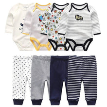 Load image into Gallery viewer, 4pcs Baby Bodysuits+4pcs Baby Pants Newborn Clothes Sets 2020 Winter Cotton Suits girls boys Custome Roupa de bebe Clothing - shopsatang.com