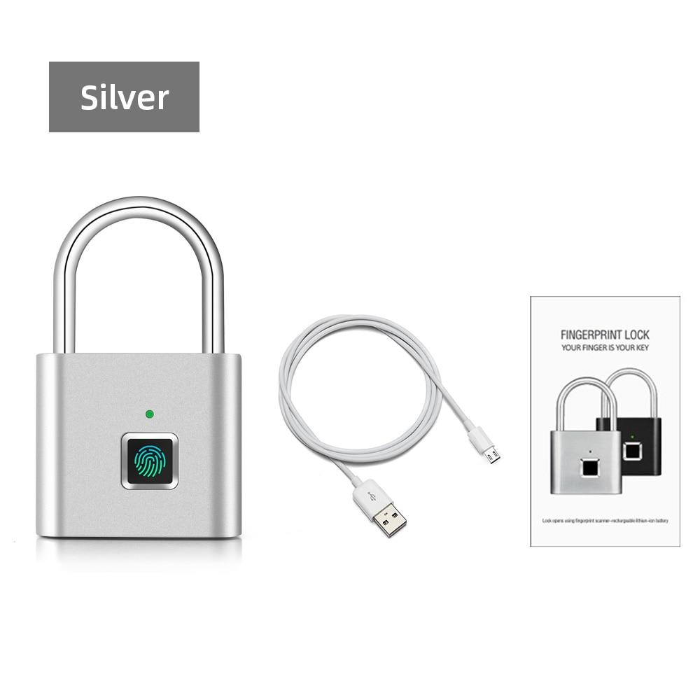 Security Door Lock Smart Keyless USB Rechargeable Fingerprint Padlock For Locker Sports School Zinc alloy Metal(No Key App Lock) - shopsatang.com