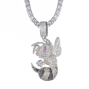 D&Z Hip Hop Bee Necklace For Women Men Gold & Silver Iced Out Cubic Zircon Micro Paved Fashion Jewelry