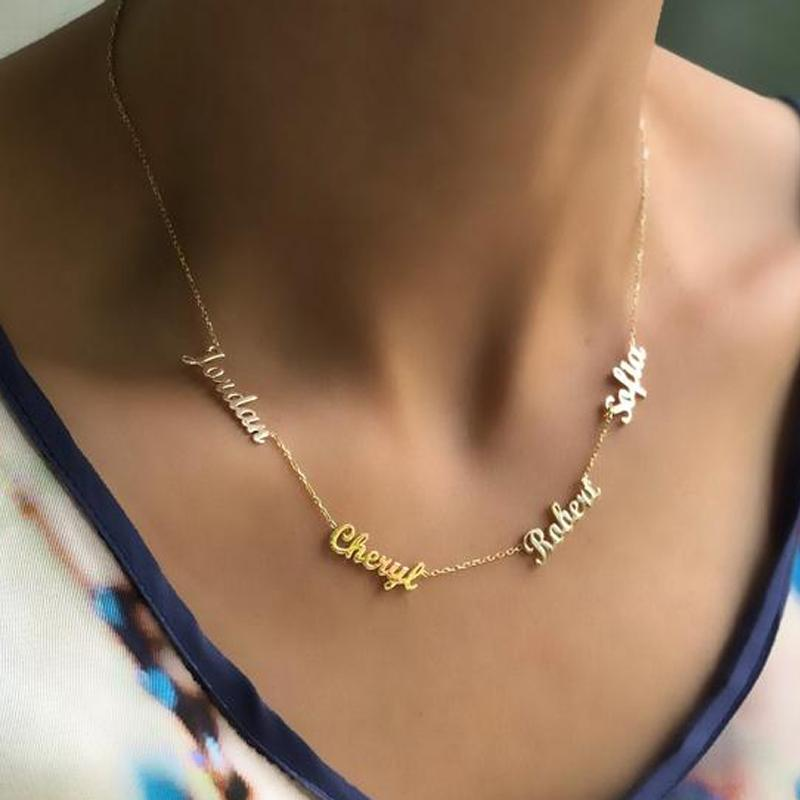 Customized Multiple Name Pendent Collares Mujer Family Necklace Pendants For Women Men Hip Hop Jewelry Gold Chain Choker Kolye
