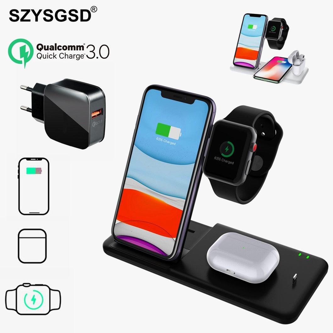 4 in 1 Qi Wireless Charger Stand For iphone 11 XR XS X Charger Dock Station For Airpods Pro Watch 5 4 3 2 QI Wireless charger