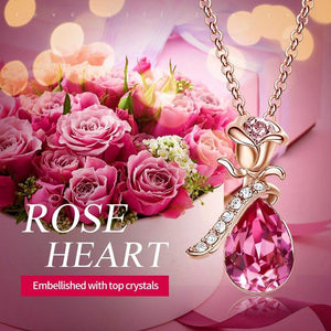 Cdyle Boho Jewelry Gold Necklace Chain Pink Crystal Rose Flower Pendant Necklace with Zircon for Female Wedding Anniversary Gift