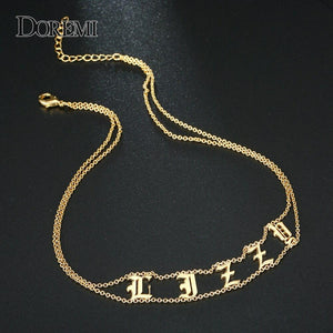 DOREMI 2019 Old English Numbers Necklace Name Custom Choker Personalized Letter Necklace for Girl Gothic Chic Jewelry for Etsy