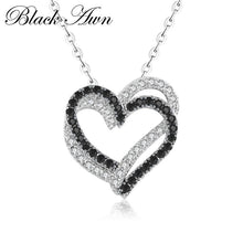 Load image into Gallery viewer, Silver Necklace Fine Genuine 100% 925 Sterling Silver Necklace Women Jewelry Heart Black&White Stone Pendants P107 - shopsatang.com