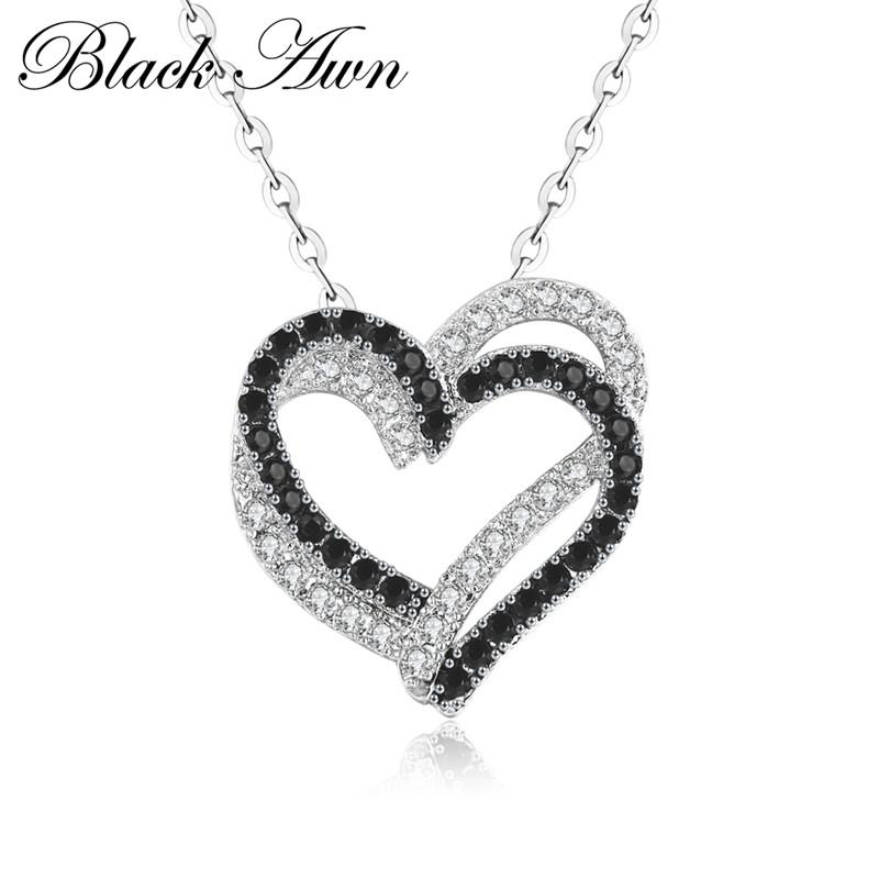 Silver Necklace Fine Genuine 100% 925 Sterling Silver Necklace Women Jewelry Heart Black&White Stone Pendants P107 - shopsatang.com