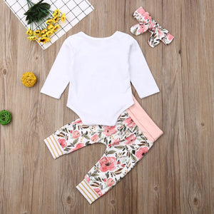 Baby Girls Clothes Set 2019 Toddler Infant Newborn Autumn Long Sleeve Letter Bodysuit Flower Pants Headband Outfit 3PCS Clothing