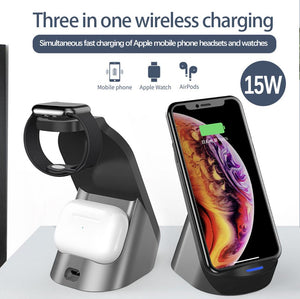 Amsengo 15W Wireless Charger Station For Apple iWatch iPhone 12 12Pro XS Airpods Pro Fast Charging Dock Holder Stand Mounts Base