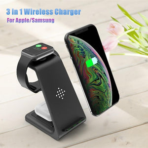 QI 10W Fast Charge 3 in 1 Wireless Charger Station For iPhone 11 for Samsung For Apple Watch 5 4 3 For Airpods Pro Charger Stand