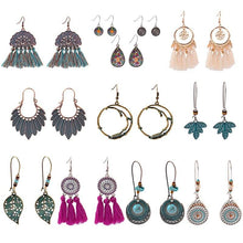 Load image into Gallery viewer, OIQUEI Wholesale Bohemian Retro Cloth Fringe Tassel Leaf Round Shaped Drop Dangle Earrings Women Boho Design Jewelry 10Pair/Lot (HQEZ013) - shopsatang.com