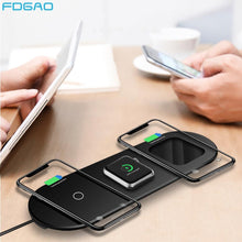 Load image into Gallery viewer, FDGAO Qi Wireless Charger for Apple Watch 5 4 3 2 Airpods Pro iWatch 15W 3 in 1 Fast Charging Pad For iPhone 11 Pro XS XR X 8