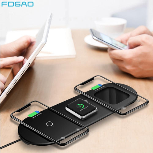 FDGAO Qi Wireless Charger for Apple Watch 5 4 3 2 Airpods Pro iWatch 15W 3 in 1 Fast Charging Pad For iPhone 11 Pro XS XR X 8