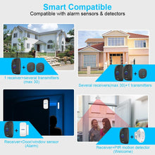 Load image into Gallery viewer, KERUI M525 Home Security Welcome Wireless Doorbell Smart Chimes Doorbell Alarm LED light 32 Songs with Waterproof Touch Button