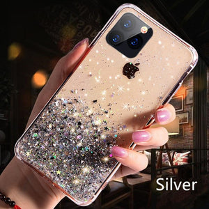 Luxury Bling Glitter Phone Case For iPhone 11 Pro X XS Max XR Soft Silicon Cover For iPhone 7 8 6 6S Plus Transparent Cases Capa - shopsatang.com