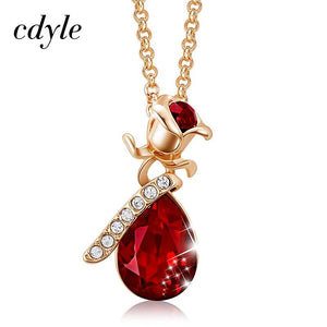 Cdyle Boho Jewelry Gold Necklace Chain Pink Crystal Rose Flower Pendant Necklace with Zircon for Female Wedding Anniversary Gift - shopsatang.com