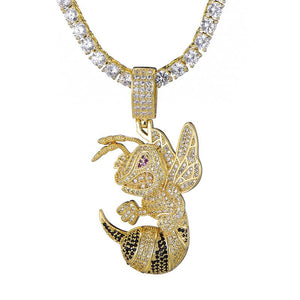 D&Z Hip Hop Bee Necklace For Women Men Gold & Silver Iced Out Cubic Zircon Micro Paved Fashion Jewelry - shopsatang.com