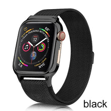 Load image into Gallery viewer, Milanese Loop bracelet+case strap for Apple Watch band 44 mm 40mm iWatch4 5 band  stainless steel milanis plus framed body strap