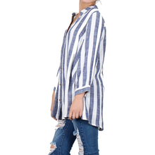 Load image into Gallery viewer, Way Beyoung Women's V-Neck Button Down Long Sleeve Stripe Shirt