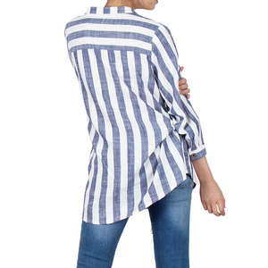 Way Beyoung Women's V-Neck Button Down Long Sleeve Stripe Shirt