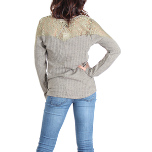 Urban Diction Dusty Olive Lace-Panel Lace-Up Front Sweater