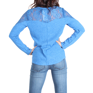Urban Diction Royal Blue Lace-Panel Lace-Up Front Sweater - Women