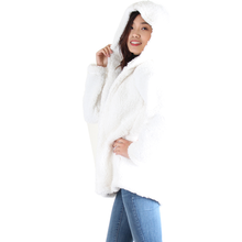 Load image into Gallery viewer, Ivory Sherpa Open Front Hooded Jacket, No Zipper