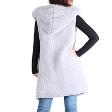Load image into Gallery viewer, Light Gray Sherpa Open Front Hooded Sleeveless Vest