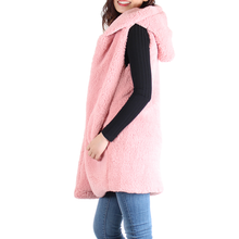Load image into Gallery viewer, Pink Sherpa Open Front Hooded Sleeveless Vest