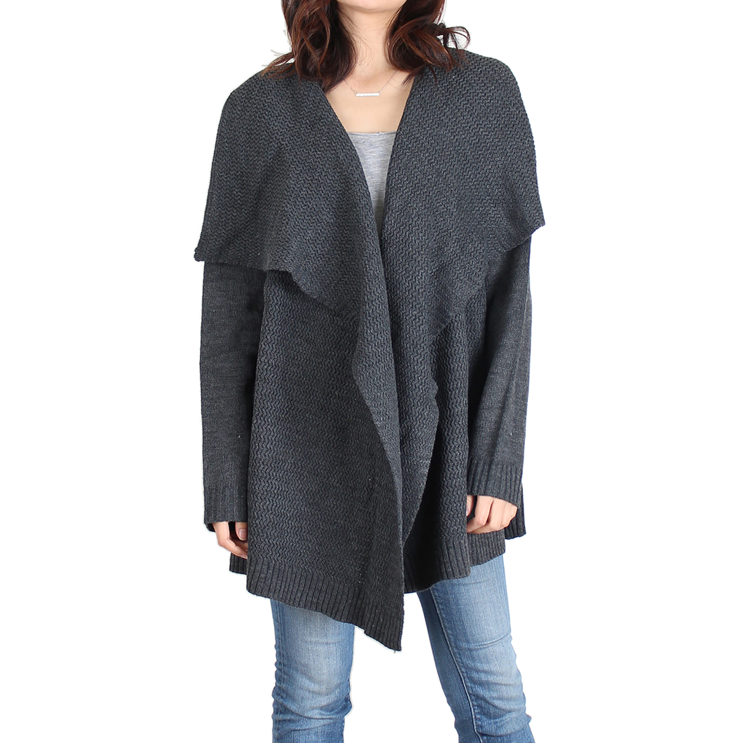 Urban Diction Gray Cascade-Front Open Cardigan