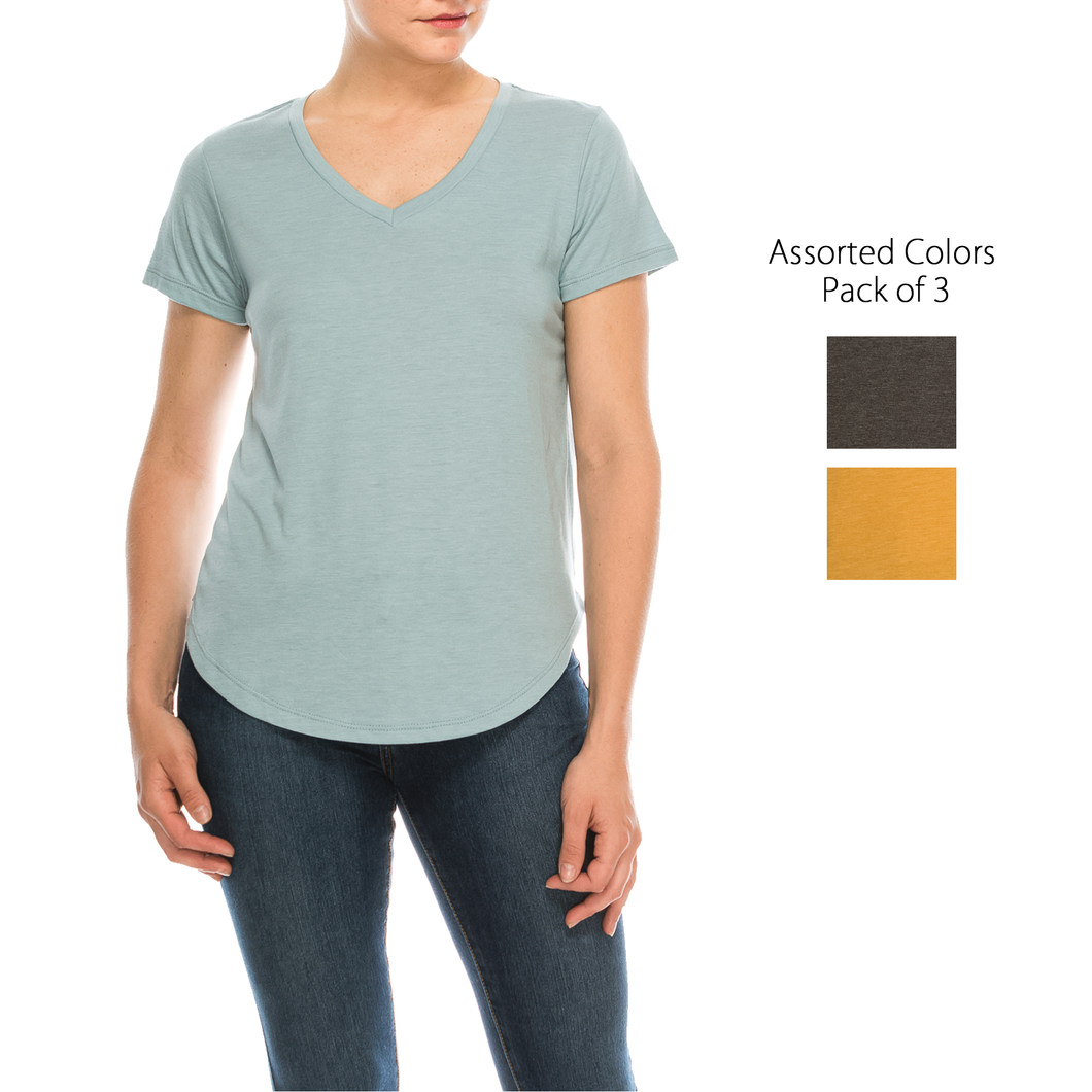 Urban Diction 3 Pack Women's Basic Solid V-Neck Short Sleeve T Shirts