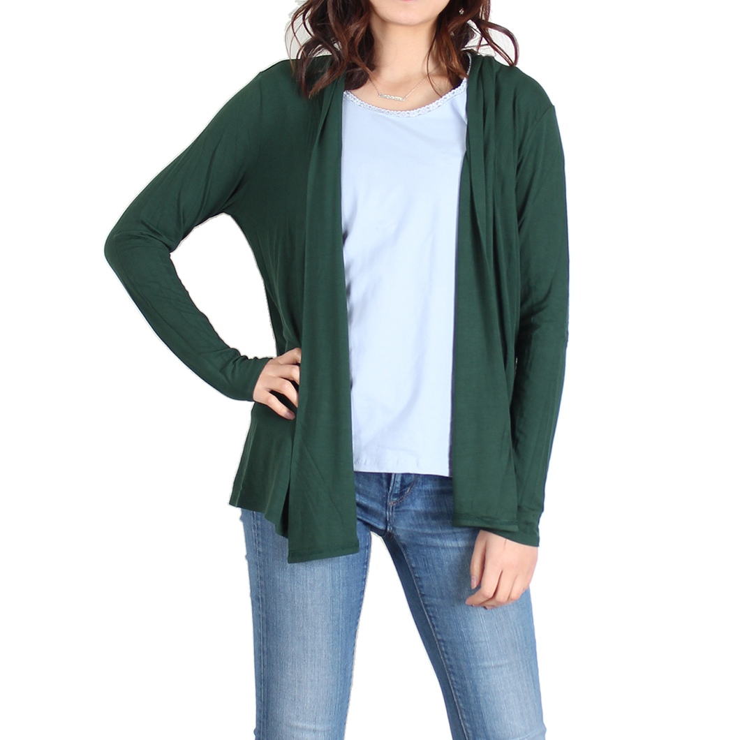 Urban Diction Forest Green Open Cardigan