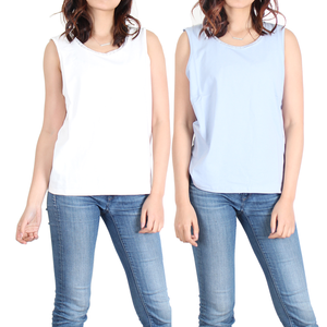 Urban Diction 2 Pack Sleeveless White and Blue Lace-Accent Tanks