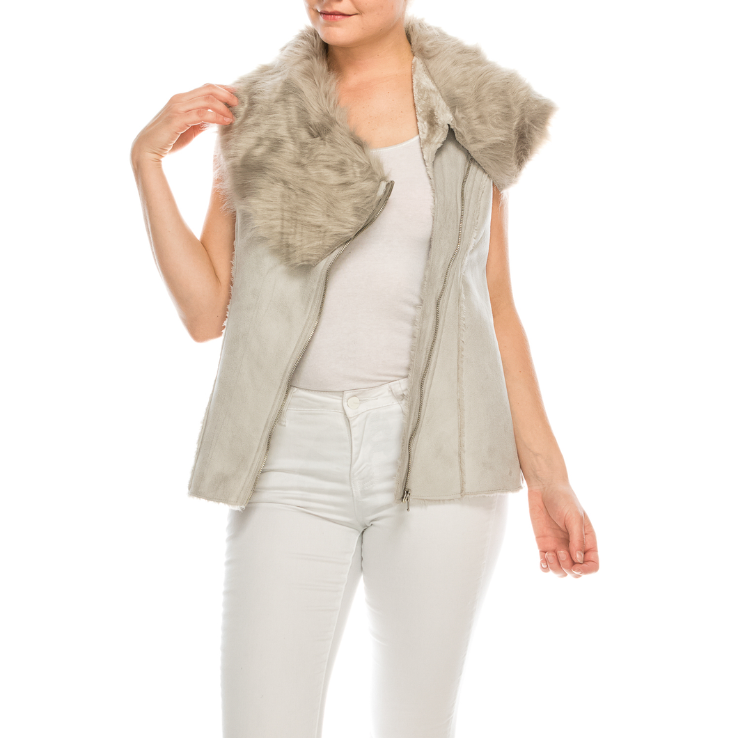 Urban Diction Women Grey Faux Fur Neckline Vest W/ Faux Fur Lining