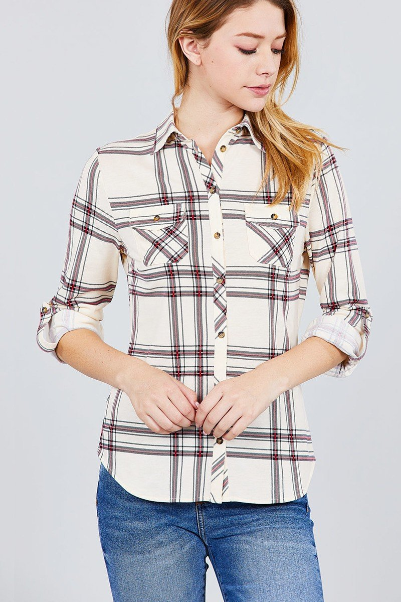 3/4 Roll Up Sleeve Front Pocket Detail Plaid Check Print Stretch Knit Shirts - shopsatang.com