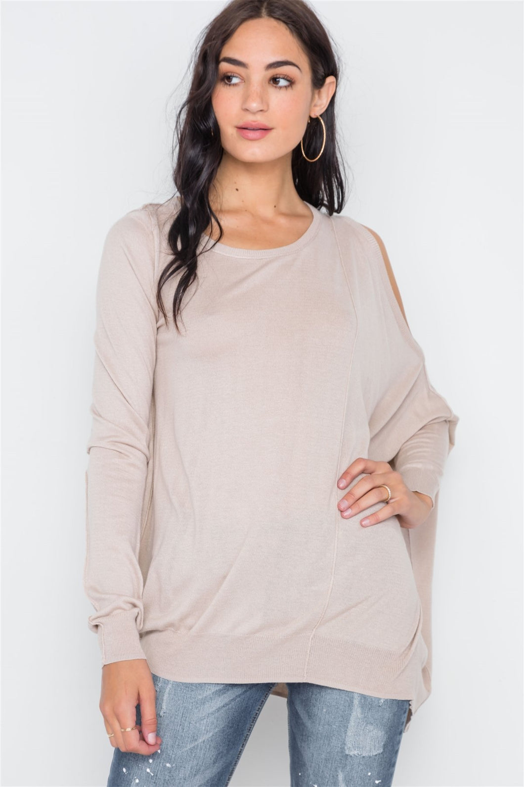 Asymmetrical Hem Seamed Sweater