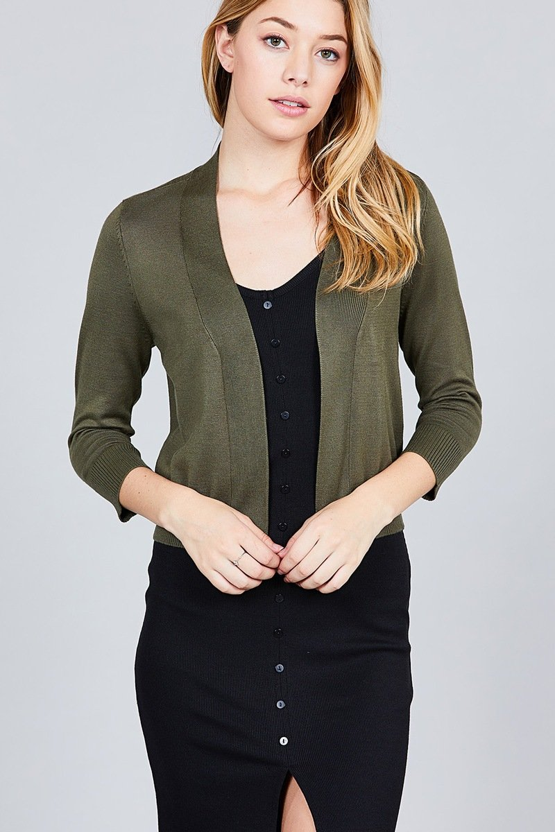 3/4 Sleeve Open Front Crop Cardigan - shopsatang.com