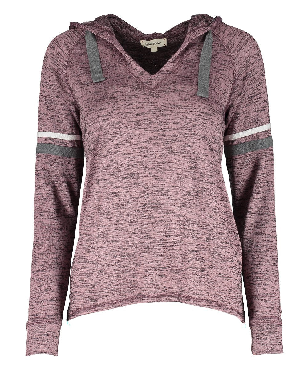 Urban Diction Mauve Hacci V-Neck Hoodie