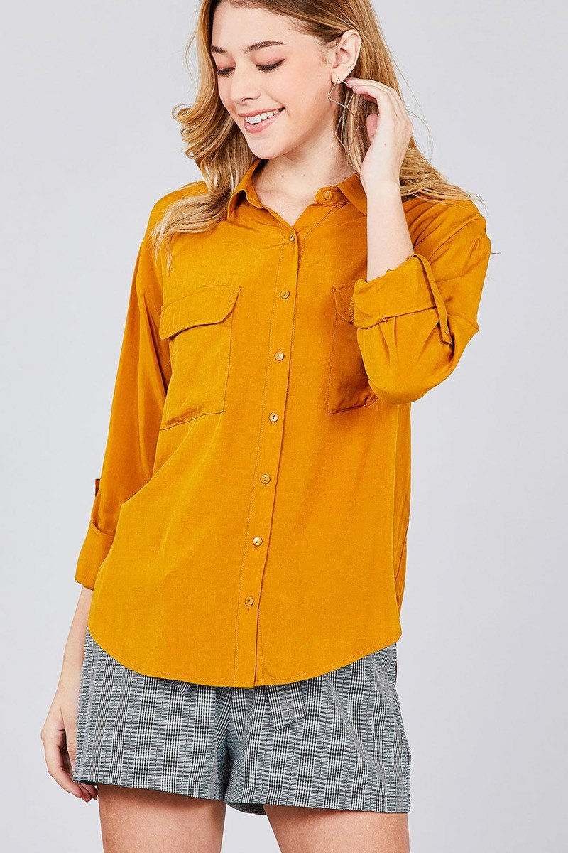 3/4 Roll Up Sleeve Chest Flap Pocket Woven Shirts - shopsatang.com