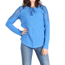 Load image into Gallery viewer, Urban Diction Royal Blue Lace-Panel Lace-Up Front Sweater - Women