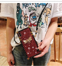 Load image into Gallery viewer, Glitter Crossbody lanyard Case For iPhone XS Max XR X Luxury Bling Sequins Diamond Phone Case For iPhone 6S 7 8 Plus Girl Cover