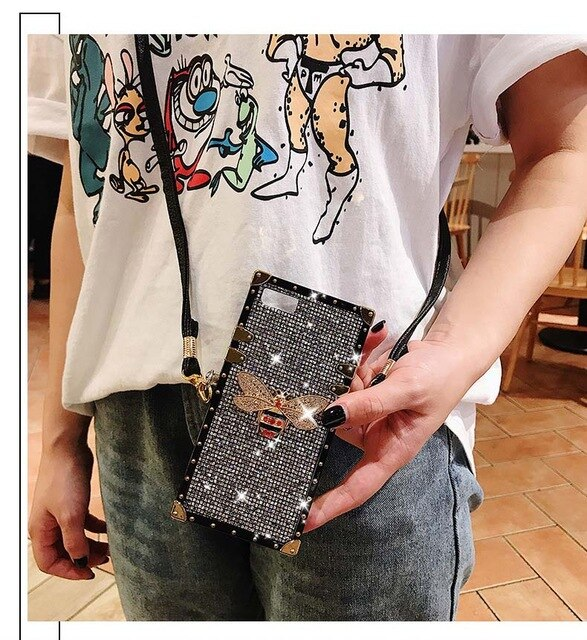 Glitter Crossbody lanyard Case For iPhone XS Max XR X Luxury Bling Sequins Diamond Phone Case For iPhone 6S 7 8 Plus Girl Cover