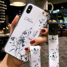 Load image into Gallery viewer, Wrist Strap Soft TPU Phone Case For iPhone 7 8 6 6S Plus X XS Max XR Vintage Flower Pattern Holder Silicone Cover With Lanyard