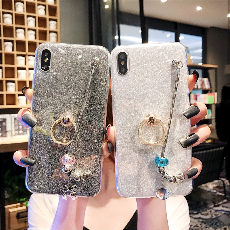 Luxury bracelet Stent phone Case For Samsung Galaxy A10 A30 A40 A50 A70 Soft TPU Glitter Bling Silicone Ring Hold Cover For girl