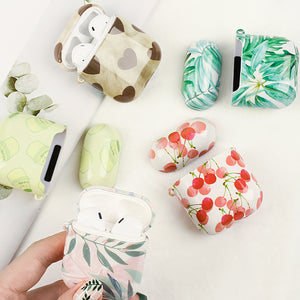 PC Case For Apple AirPods 2 Full Coverage Cartoon Pattern Earphone Hard PC Cases For Apple Air Pods Cute Flower Fruit Cover Case