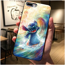 Load image into Gallery viewer, Black cover For Samsung Galaxy S8 S9 S10 Plus S7 edge Cute cartoon Stitch Phone case For iphone 7 8 6 6S Plus 5 5S X XS XSMAX XR