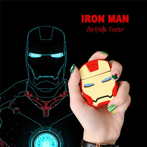 3D Cute Marvel Iron Man Headphone Cases For Apple Wireless Bluetooth Headset Silicone Protective Sleeve For Airpods 1 2 Cover