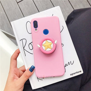 3D silicone cartoon phone holder case for huawei p30 p20 lite pro p8 p9 p10 lite plus 2017 2016 girl cute stand covers