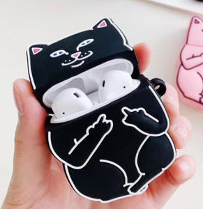Cartoon Case for AirPods Cute Cover Silicone Bluetooth Earphone Protective Case for Apple Airpods 2 Finger Ring 3D Despise Cat