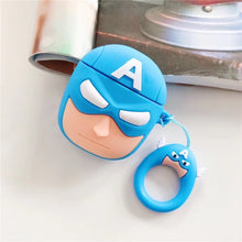 Load image into Gallery viewer, Cute Cartoon Superheros Bluetooth Earphone Case Protective Cover Skin Accessories for Airpods Cases Charging Box with Hooks