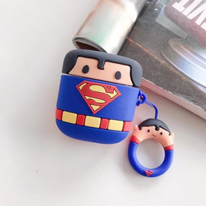 Cute Cartoon Superheros Bluetooth Earphone Case Protective Cover Skin Accessories for Airpods Cases Charging Box with Hooks